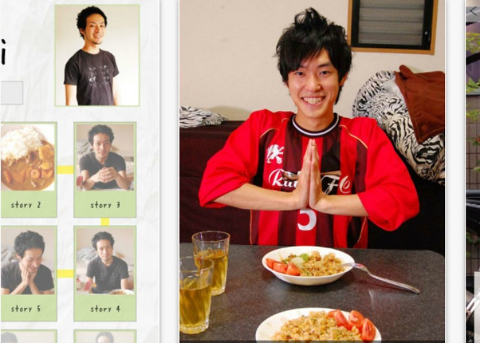 """Get a virtual boyfriend. iPhone appKare to Gohan(Dinner with My Boyfriend)—or its english version,PlusBoys—has photos of young men, each with a personality profile and a back story. For example, Biker and college student Tatsuya is friendly, but likes going to rock festivals by himself. The young man of your choice will whip up a meal for two, accompanied by screens of cheerful """"welcome home"""" banter. Warning: If you check in on more than one character in a short span of time, it might lead to jealousy. [Photo: JapanTimes]"""
