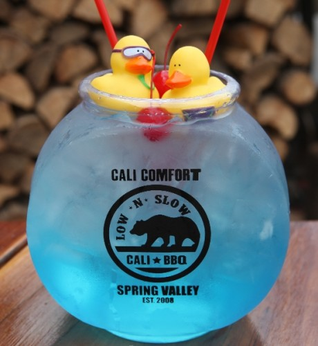 CALI COMFORT FISHBOWL, SPRING VALLEY, CALIFORNIA If you don't want to drink like a fish, don't go to Cali Comfort. Here, they fill round bowls with liquor of every color and flavor, float rubber duckies on top and call it a night. (Photo: