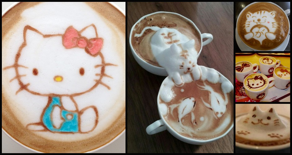 From Hello Kitty to cats gone fishing, felines are a beloved subject of the modern latte artist. (Photos: Nowtoo Sugi, Flickr/Naganosan, CutestFood.com)