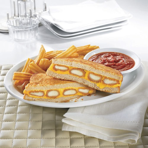 Fried Cheese Melt at Denny's. You can purchase this grilled cheese sandwich, casually stuffed with deep fried mozzarella sticks, for a mere $4. Gluttony at its finest. (Photo: