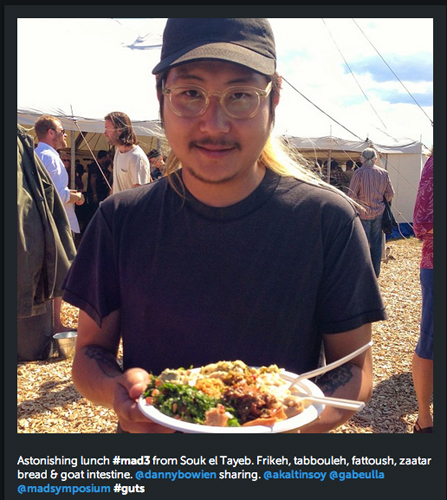 Danny Bowien got his freekeh and goat intestine on at the MAD3 symposium. (Photo: @kkrader)