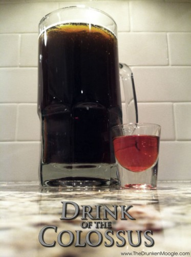 DRUNKEN MOOGLE SHADOW OF THE COLOSSUS, HOUSTONThis black behemoth is a hulking tower of Guinness mixed with cider and Blueberry Ale and a chaser of equal parts brandy and grenadine. See if you can drink that in 10 minutes. (Photo: