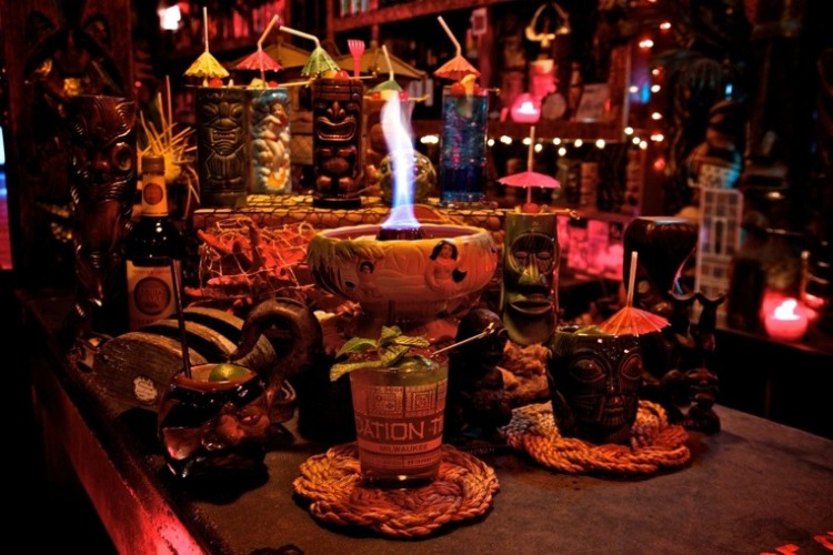 FOUNDATION BAR VOLCANO BOWL, MILWAUKEE A flaming yellow bowl shines before Foundation's plethora of wild tiki cocktails. The Volcano Bowl, a Scorpion Bowl spinoff, is brimming with icy, juicy, rummy drunkenness.  (Photo:
