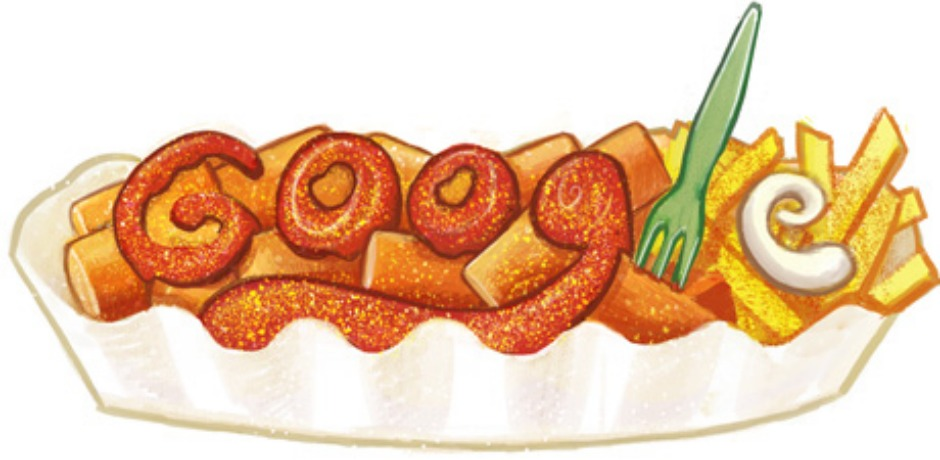 Herta Heuwer's 100th Birthday. Heuwer invented Currywurst by frying a boiled sausage and layering itwith a sauce oftomato paste,Worcestershire, curry powder and other ingredients.(Photo: Google)