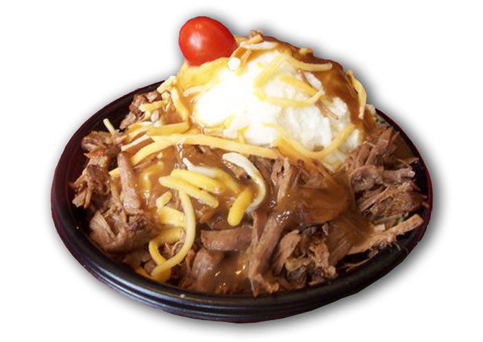 Hot Beef Sundae. In 2006, this horrific bowl of mashed potatoes, roast beef, beef gravy, cheddar cheese, and tomato made its debut at the Iowa State Fair. Since its creation, America has never been the same. (Photo: NY Farm Show)