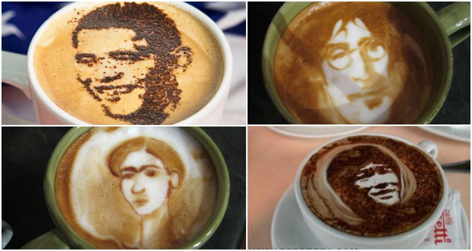 Drinking the faces of famous people is always fun. (Photos: Studio6Coffee, Deviousonary.wordpress.com,Design Nirvana)