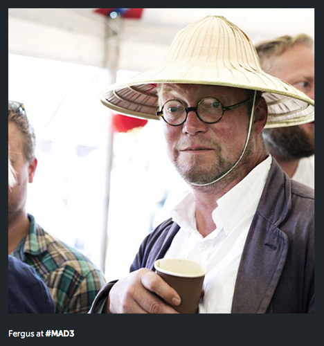 Fergus Henderson wore an amazing hat to this year's MAD symposium. (Photo: