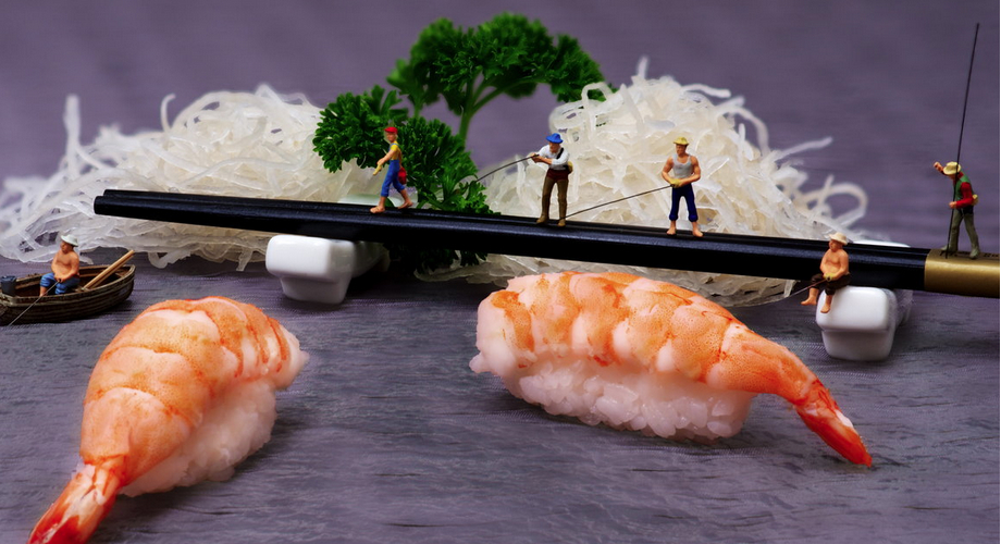 If only you could fish shrimp nigiri out of the river.