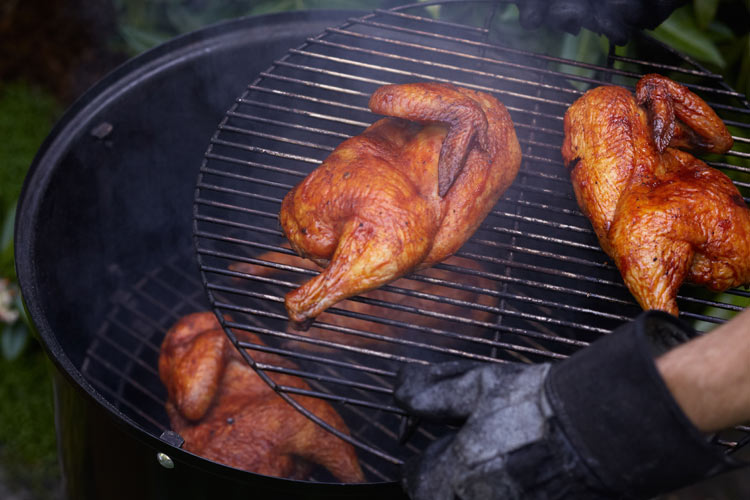 Old-School Barbecued Chicken. This is the genesis of all barbecued chicken, which is a dish that everybody loves. A quick brine and homemade barbecue sauce will turn ordinary barbecue chicken into something really special. Slow Fire)