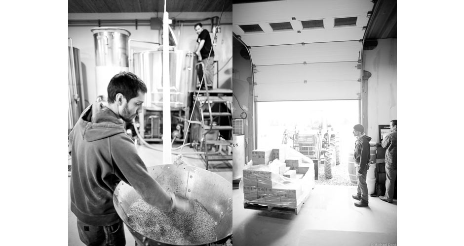 Loading the mash tun and loading bottles at Hill Farmstead Brewery.