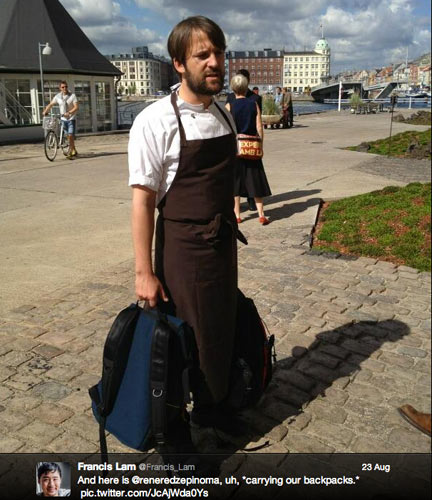 In an act of chivalry, René Redzepi carried people's backpacks. (Photo: