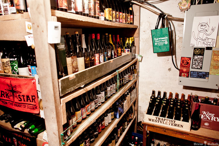 A picture of Mike Donk's spectacular beer cellar. Jealous?