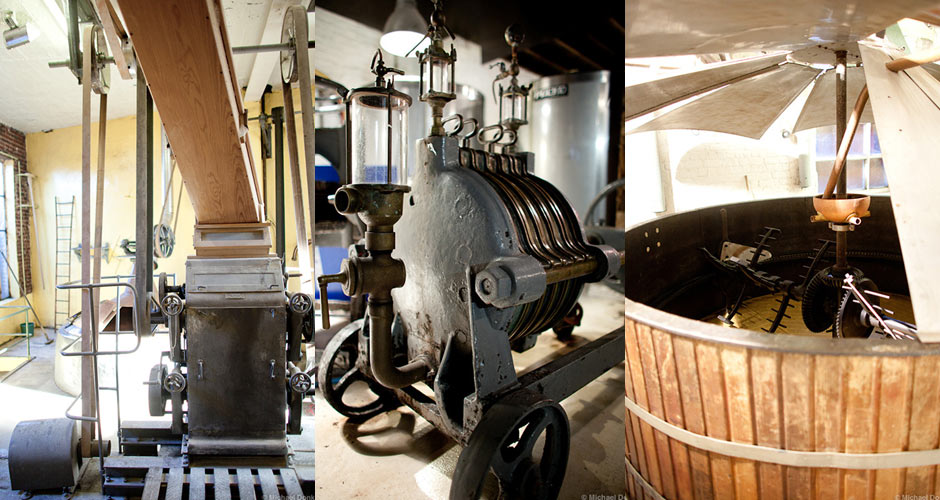 Brewing equipment at Brasserie Cantillon.
