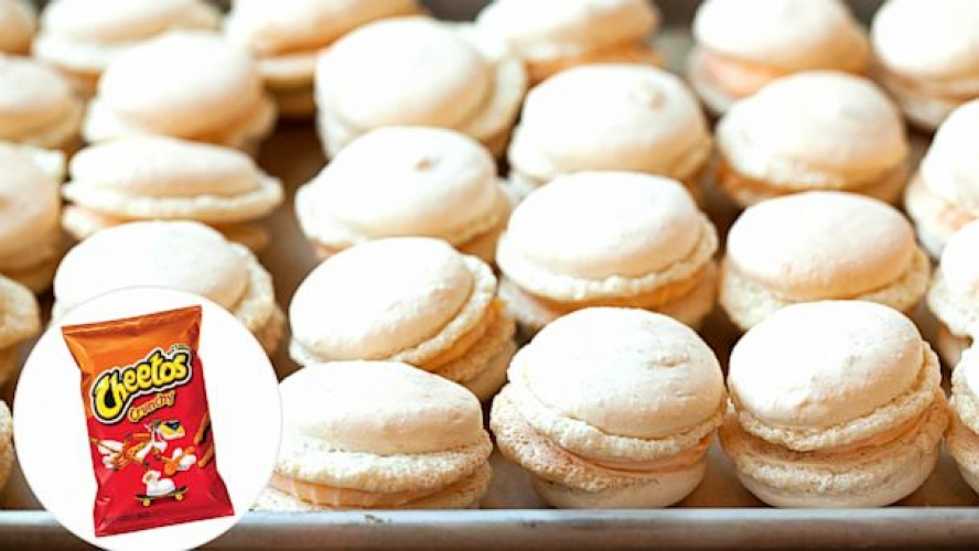 Cheetos macarons. What may sound like one of the most unorthodox recipes on this list is actually one of the most impressive. Christina Ha of NYC's Macaron Parlour is the mastermind behind these bougie-meets-cheesy-vending-machine-food desserts. Get the recipe at