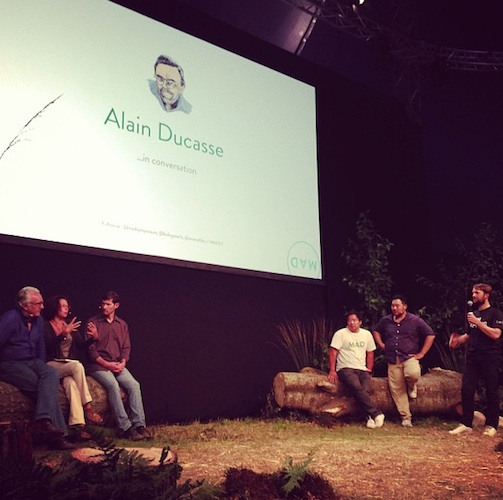 Alain Ducasse in conversation with David Chang, Rene Redzepi, and chef Daniel Patterson at MAD3. (Photo: madsymposium)