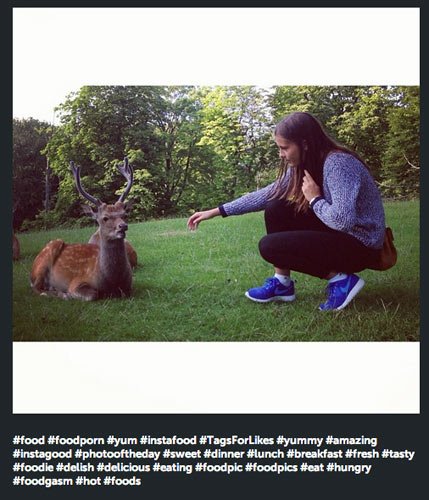 This would only be cool if it were the deer's Instagram account, and it was planning on eating the human.