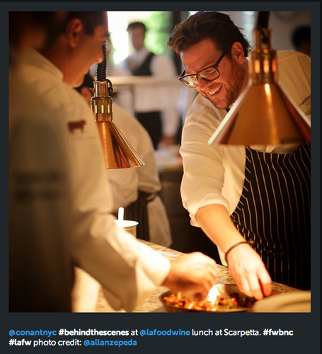 Scott Conant cooked lunch at Scarpetta for the Los Angeles Food & Wine Festival. (Photo: