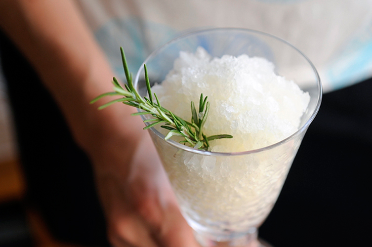 Herb and White Wine Granita. Herbs? Wine? Granita? Just think of a not-too-sweet slushie and then add the woodsy aroma of rosemary. There's no classier way to cool down on Labor Day.