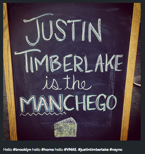 Winning some VMAs is cool, but Justin Timberlake should be even more amped that he got compared to one of the dopest Spanish cheeses around at a Brooklyn restaurant. (Photo: