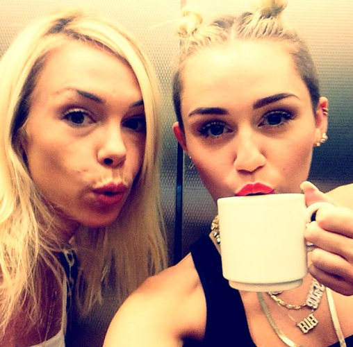 Miley Cyrus stayed caffeinated backstage at the VMAs. Now we know the secret to twerking. (Photo: @mileycyrus)