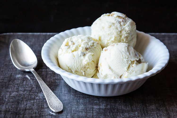 Oatmeal Ice Cream with Toasted Walnuts. Oatmeal and walnuts come together to create an ice cream unlike any other you have stashed in your freezer. Rum-soaked raisins wouldn't be an out-of-place addition.