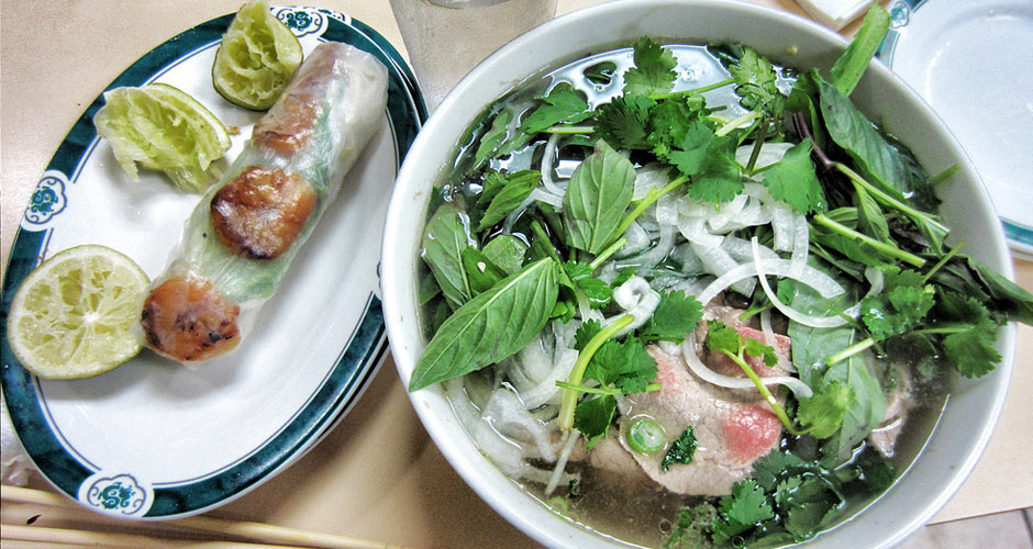 Pho and spring roll and Pho Cadao, 52nd and El Cajon, San Diego