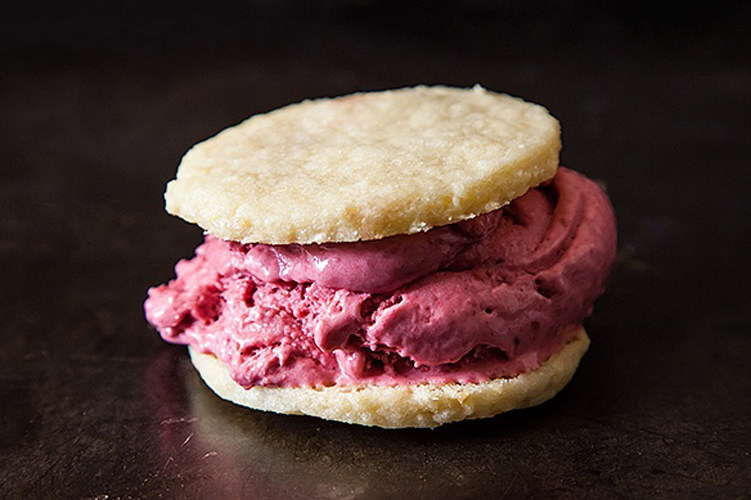 Raspberry Ice Cream Sandwiches. The cookies are amazing on their own—fine-crumbed and a little shaggy with coconut and lemon zest—but they hold together like champs when matched with the vibrant ice cream.