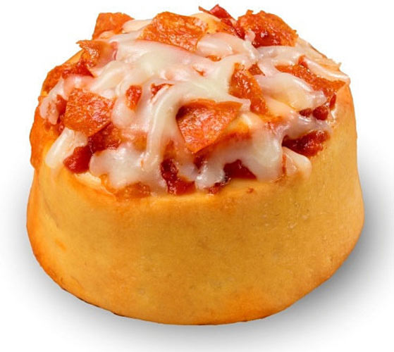 The Pizzabon from Cinnabon. This creation replaces the cinnamon with tomato sauce, the gooey glaze with cheese, and lines its rolls with pepperoni. As if a regular old slice of pizza wasn't enough. (Photo: