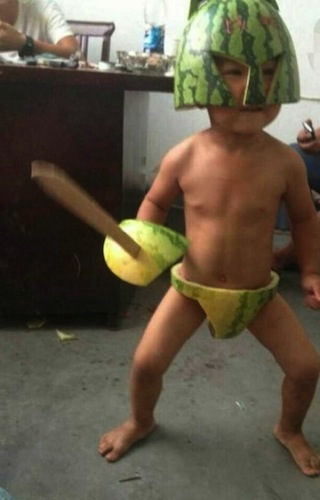 This other kid is a watermelon spartan! (via
