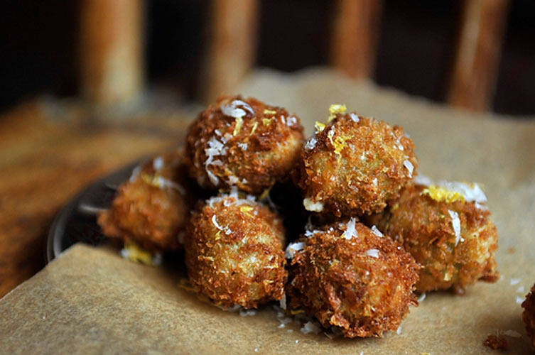 Olive all'Ascolana. These olives have a shaggy, crunchy panko crust on the outside and goat cheese stuffing on the inside. Chill some prosecco, and you'll have one luxe cocktail party.