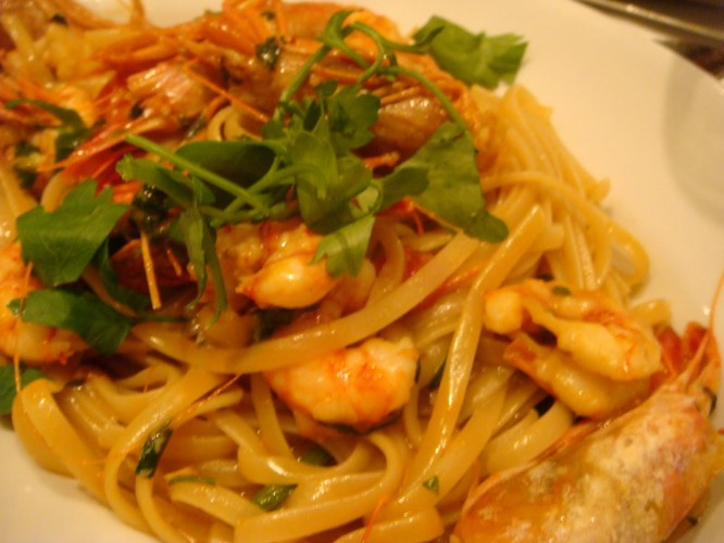 Name: Linguine con Gamberi Cost: $480 Where it came from: Da Domenico, Hong Kong  What it is: Not your mom's linguini: Domenico's pasta bowl is steeped in shrimp bisque with tomatoes, saffron, anise, and parsley. (Photo: Simply Food and Life)