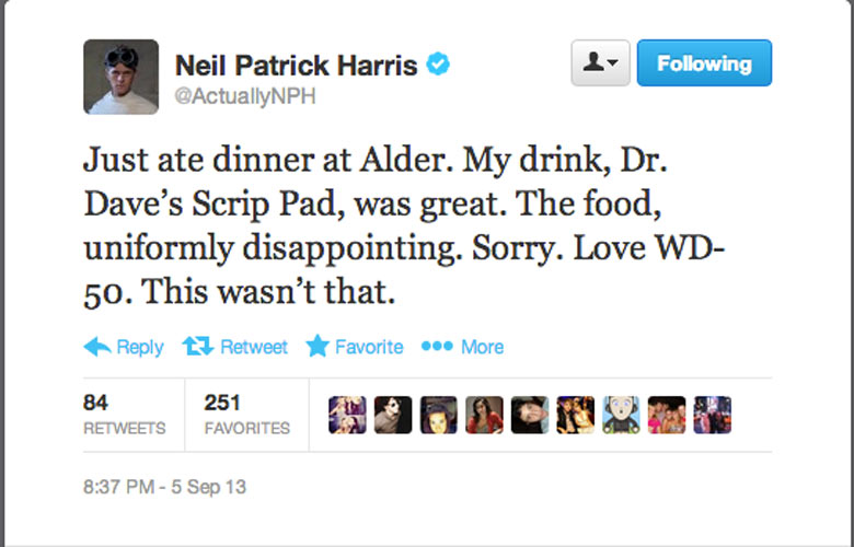 "TOSS-UP: Neil Patrick Harris. If Alder chef Wylie Dufresne had Twitter, his response to NPH's hater tweet might be: ""Your Emmys jokes were uniformly disappointing, bro."" (Photo: Twitter)"