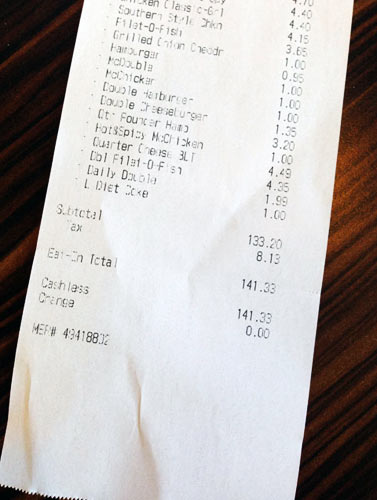 His bill for the 43 sandwiches—plus one diet Coke—came out to $141.33. (Photo: