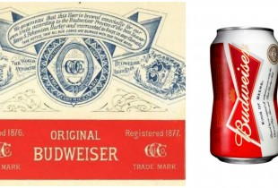 Budweiser Beer. Left: 1879, Right: 2013(Photos: Flickr, Core 77)