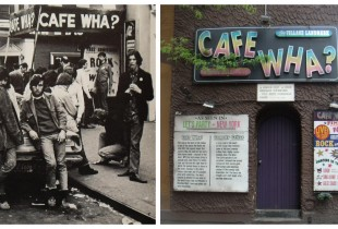 Cafe Wha?, New York. Left: 1960s, Right: 2012  (Photos: The Bowery Boys, Falafil)