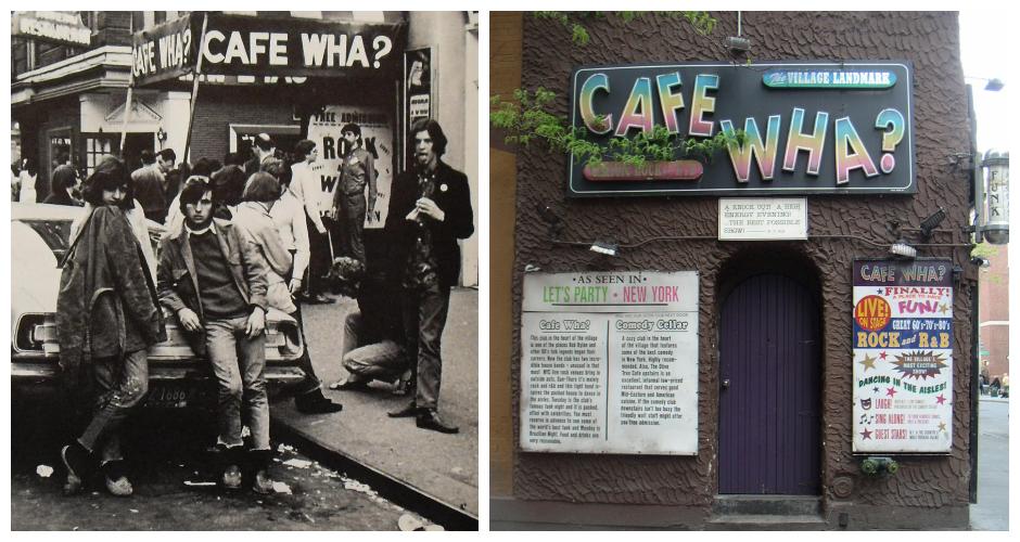 Cafe Wha?, New York. Left: 1960s, Right: 2012  (Photos: The Bowery Boys, Falafil)