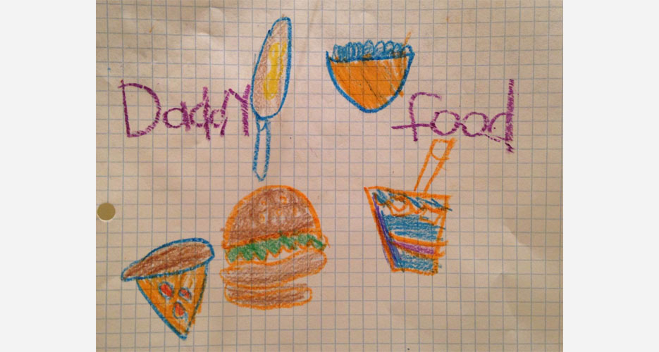 "Original ""Daddy Food"" artwork by The Twins. They're not all bad."