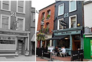Davy Byrne's Pub, Dublin. Left: 1930, Right: 2013(Photos: Berfois, Flickr)