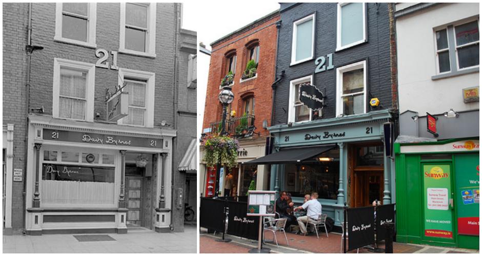 Davy Byrne's Pub, Dublin. Left: 1930, Right: 2013(Photos: Berfois, Flickr)