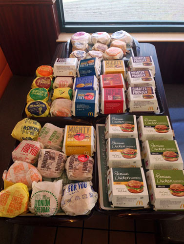 Chipman used 43 sandwiches to create the McEverything. (Photo: