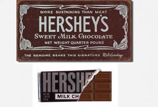Hershey's. Top: 1900. Bottom: 2013. (Photo: