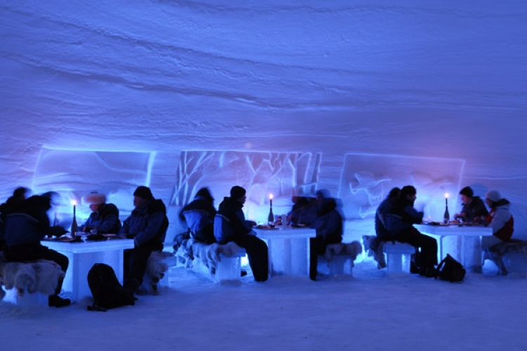 Snow Village, Finland. Every December, the Snow Village opens to the public. The entire complex is carved out of ice, including the SnowHotel, an IceBar, and an Igloo Disco. No, this isn't like that new Ice bar in midtown Manhattan with the 20 dollar cover charge, this is an extravagant getaway in the chilly depths of Finland.(Photo: