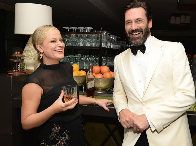 WINNERS: Amy Poehler and Jon Hamm. Amy Poehler and Jon Hamm nursed their wounds post-Emmys with Johnnie Walker Platinum, and then we couldn't deal with the injustices of the world anymore. (Photo: