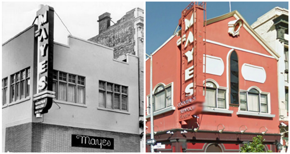 Mayes Oyster House, San Francisco. Left: 1953, Right: 2013. (Photos: Curbed San Francisco)
