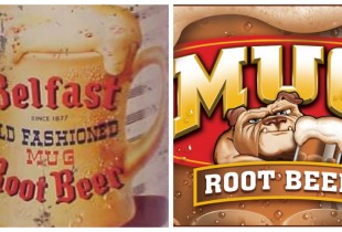 Mug Root Beer. Left: 1947, Right: 2013(Photos: Logopedia, Flickr)
