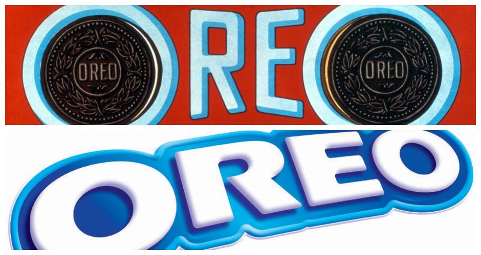 Oreo. Top: 1923, Right: 2013(Photos: Logopedia, Flickr)