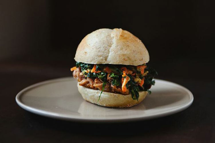 Chinese Pulled Pork Sandwiches with Kale and Apple Slaw. Brown & braise pork. Shred & stir slaw. Toast buns. Heap, eat.