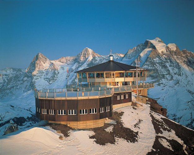 Piz Gloria, Schilthorn Summit, Mürren, Switzerland. It can only be reached by cable car, scenes from James Bond's On Her Majesty's Secret Service were filmed here, and it proclaims to be the world's first revolving restaurant. Piz Gloria is undoubtedly one of the most stunning restaurant locations in the world. (Photo: