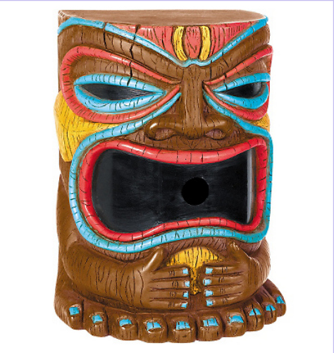 No tiki bar is complete without a tiki-head bubble machine. Available at Party City