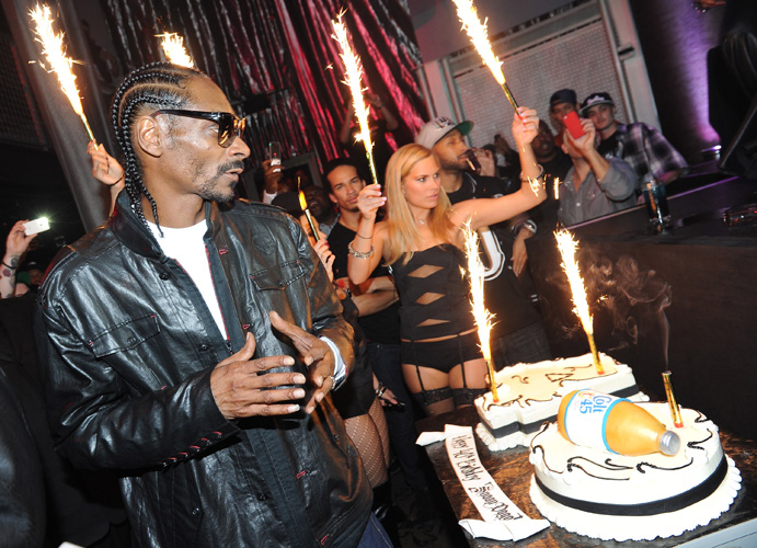 Who: Snoop DoggLevel of absurdity (0-10): 10 Believe it or not, Snoop was 40 years old when he received a cake that looks like a 40-ounce bottle of Colt 45. Can't make it up. (Photo: Michael Buckner/Getty Images)